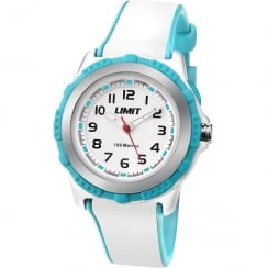 Limit White Dial White & Turquoise Rubber Strap Children Watch 5596