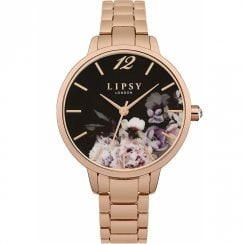 Lipsy Black Floral Dial Rose Gold Bracelet Ladies Watch LP598