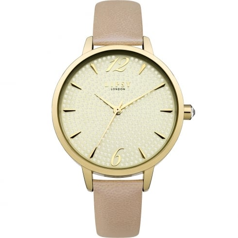 Lipsy Gold Bling Dial Pink Strap Ladies Watch LP486