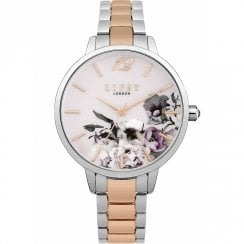 Lipsy Pink Floral Dial Two Tone Bracelet Ladies Watch LP596