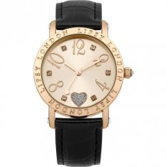 Lipsy Rose Gold Dial Black Strap Ladies Watch LP113