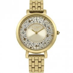 Lipsy Stone Set Champagne Dial Gold Bracelet Ladies Watch LP397
