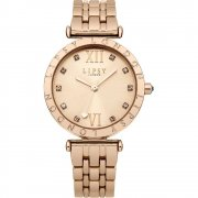 Lipsy Stone Set Dial Rose Gold Bracelet Ladies Watch LP310