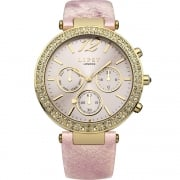 Lipsy Stone Set Pink Dial Pink Strap Ladies Watch LP452