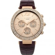 Lipsy Stone Set Rose Gold Dial Burgundy Strap Ladies Watch LP383
