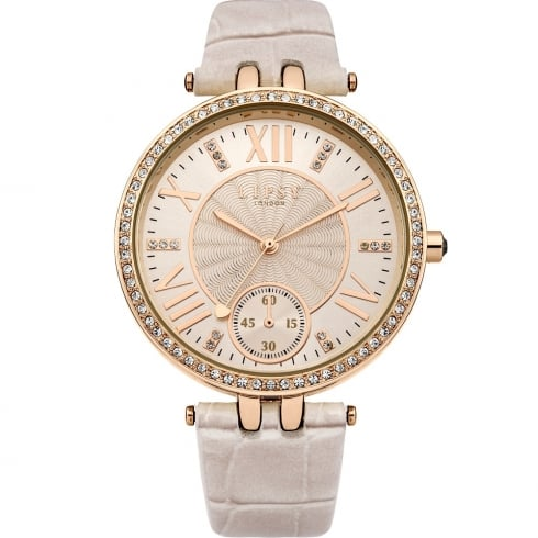 Lipsy Stone Set Rose Gold Dial Nude Strap Ladies Watch LP294