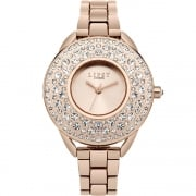 Lipsy Stone Set Rose Gold Dial Rose Gold Bracelet Ladies Watch LP444