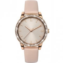 Lipsy Stone Set Rose Gold Dial Rose Gold Strap Ladies Watch LP565