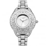 Lipsy Stone Set Silver Dial Chrome Bracelet Ladies Watch LP442