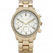 Lipsy Stone Set Silver Dial Gold Bracelet Ladies Watch LP168