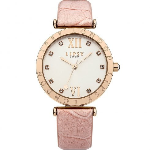 Lipsy Stone Set Silver Dial Pink Strap Ladies Watch LP312
