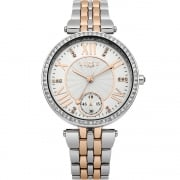 Lipsy Stone Set Silver Dial Rose Gold 2 Tone Bracelet Ladies Watch LP290