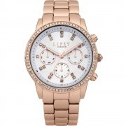 Lipsy Stone Set Silver Dial Rose Gold Bracelet Ladies Watch LP240