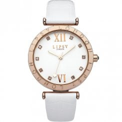 Lipsy Stone Set Silver Dial White Strap Ladies Watch LP313