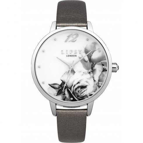 Lipsy White Floral Dial Grey Strap Ladies Watch LP594