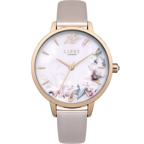 Lipsy White Floral Dial Pearl Pink Strap Ladies Watch LP547