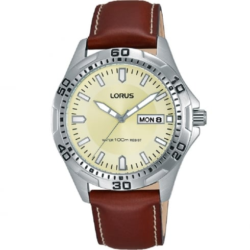 Lorus Beige Dial Brown Leather Strap Gents Watch RXN47DX9