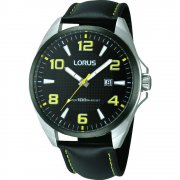 Lorus  black dial leather strap Mens watch RH975CX9