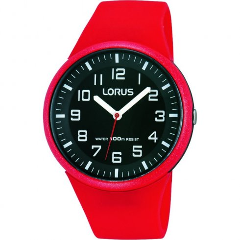 Lorus black dial resin strap Mens watch RRX59DX9