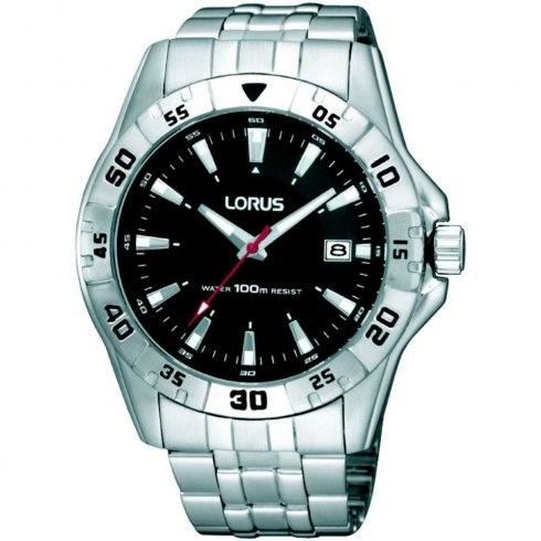 Lorus black dial stainless steel bracelet Mens watch RXH49HX9