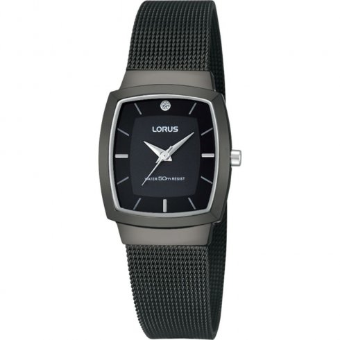 Lorus black dial stainless steel mesh Ladies watch RRS09UX9
