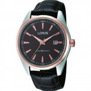 Lorus Brown Dial Black Leather Strap Mens Watch RH904DX9