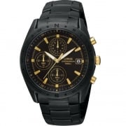 Lorus Chronograph Black Dial Black Bracelet Gents Watch RM377BX9