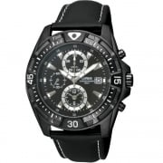 Lorus Chronograph Black Dial Black Leather Strap Gents Watch RF853CX9