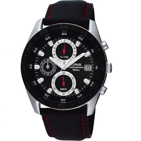 Lorus Chronograph Black Dial Black Leather Strap Gents Watch RM309BX9