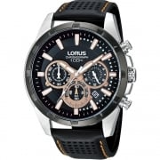 Lorus Chronograph Black Dial Black Leather Strap Gents Watch RT307BX9