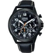 Lorus Chronograph Black Dial Black Leather Strap Gents Watch RT373FX9