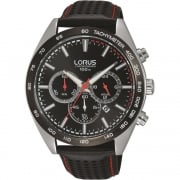 Lorus Chronograph Black Dial Leather Strap Gents Watch RT307GX9