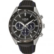 Lorus Chronograph Black Dial Leather Strap Gents Watch RT309GX9
