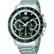 Lorus Chronograph Black Dial Stainless Steel Bracelet Gents Watch RT395BX9