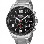 Lorus Chronograph black dial stainless steel bracelet Mens watch RT351CX9