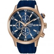 Lorus Chronograph Blue Dial Blue Rubber Strap Gents Watch RM364CX9