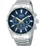 Lorus Chronograph Blue Dial Stainless Steel Bracelet Gents Watch RT321CX9