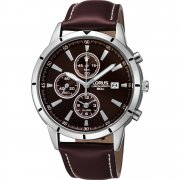 Lorus Chronograph Bronze Dial Brown Leather Strap Gents Watch RF331BX9