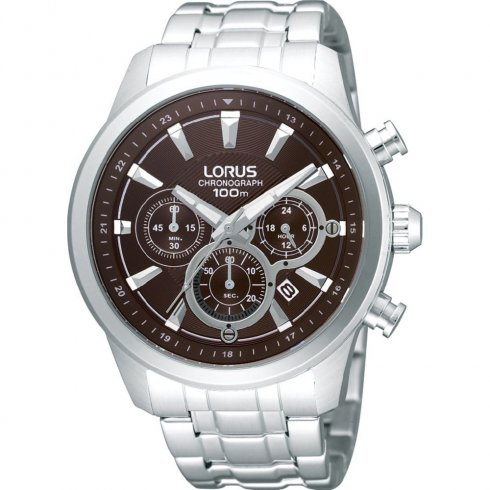 Lorus Chronograph Brown Dial Stainless Steel Bracelet Mens Watch RT359AX9
