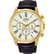 Lorus Chronograph Cream Dial Brown Leather Strap Gents Watch RT396FX9
