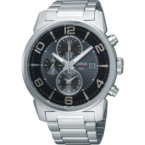 Lorus Chronograph Grey Dial Stainless Steel Bracelet Gents Watch RF871CX9