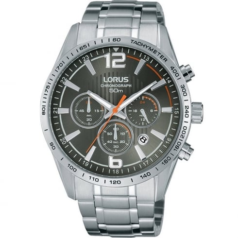 Lorus Chronograph Grey Dial Stainless Steel Bracelet Gents Watch RT301FX9