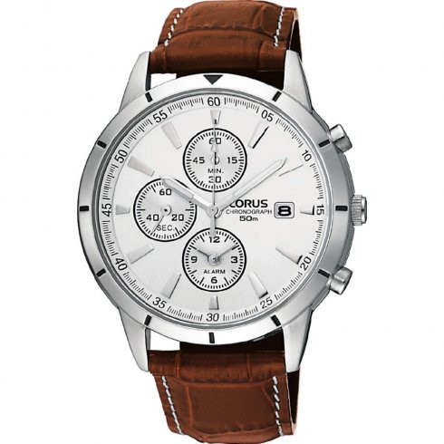 Lorus Chronograph Silver Dial Brown Leather Strap Mens Watch RF325BX9