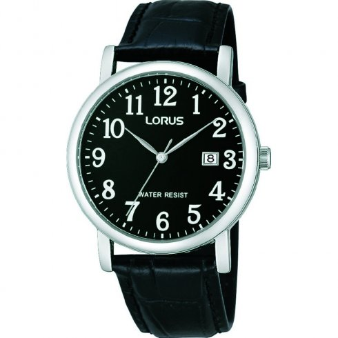 Lorus Classic Black Dial Black Leather Strap Mens Watch RG837CX9