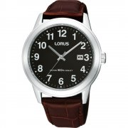 Lorus Classic Black Dial Brown Leather Strap Mens Watch RH927BX9