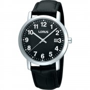 Lorus Classic Black Dial Leather Upper Strap Gents Watch RH951CX9