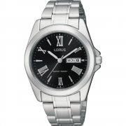 Lorus Classic Black Dial Stainless Steel Bracelet Mens Watch RJ635AX9