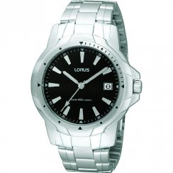Lorus Classic black dial stainless steel bracelet Mens watch RS907BX9