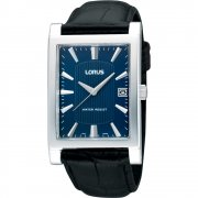 Lorus Classic Blue Dial Black Leather Strap Mens Watch RH943CX9