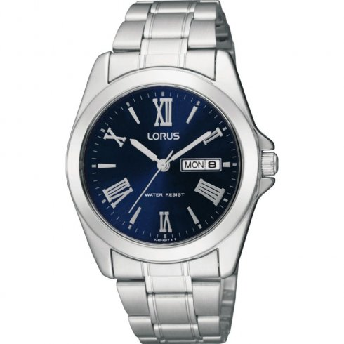 Lorus Classic Blue Dial Chrome Bracelet Gents Watch RJ637AX9